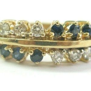 Sapphire & Diamond Two Row Ring Solid 14Kt Yellow